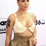 Halsey took the plunge at the 2017 Billboard Music Awards wearing a cream-colored Sergio Hudson bra paired with a cargo skirt. (Photo: WENN)