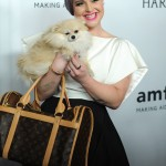 Kelly Osbourne brought all eyes on her as she posed with her adorable Pomeranian at the 7th annual amfAR Inspiration Gala in New York. (Photo: WENN)