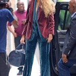 Blake stepped out for a photoshoot on an 85 degrees day in N.Y.C. wearing a blue velvet pantsuit by Brunello Cucinelli and topped off the outfit with a second blazer. (Photo: WENN)