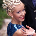 """Just before her """"Dirrty"""" phase, Christina Aguilera for whatever reason thought it was a good idea to tweeze her eyebrows into a pencil-thin shape. (Photo: WENN)"""