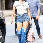 Lady Gaga made sure all eyes were on her when as she was heading to the recording studio wearing bright blue thigh-high cowboy theme boots. (Photo: WENN)