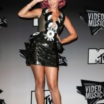 Katy Perry literally broke records at the 2011 VMA's wearing this quirky, Halloween-costume-like vinyl outfit designed by John Wujek. (Photo: WENN)