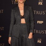 Sarah Paulson left her Christian Dior grey jacket open to slightly expose her sexy sheer black bra at the 2018 FX Annual All-Star Party. (Photo: WENN)