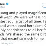 Elton John shared his deep appreciation for Aretha Franklin in a Twitter thread. (Photo: Twitter)