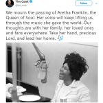 Apple CEO Tim Cook shared some words of appreciation for the musical legacy of Aretha Franklin. (Photo: Twitter)