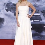 "The ""Fast and Furious"" star looked sensational at the premiere of the eight chapter of the franchise wearing a white strapless Christian Dior dress. (Photo: WENN)"