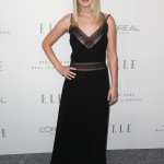 Jennifer Lawrence donned a black sheer paneled boho gown by Dior at ELLE's 24th Annual Women in Hollywood Celebration. (Photo: WENN)