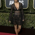Berry took the plunge at the 2018 Golden Globes in a black lacey bell-sleeved mini dress by Zuhair Murad. (Photo: WENN)