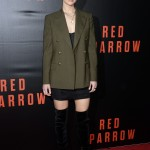 "JLaw opted for a Polo Ralph Lauren menswear-inspired olive blazer paired with black velvet over-the-knee boots at the special screening of her movie ""Red Sparrow."" (Photo: WENN)"
