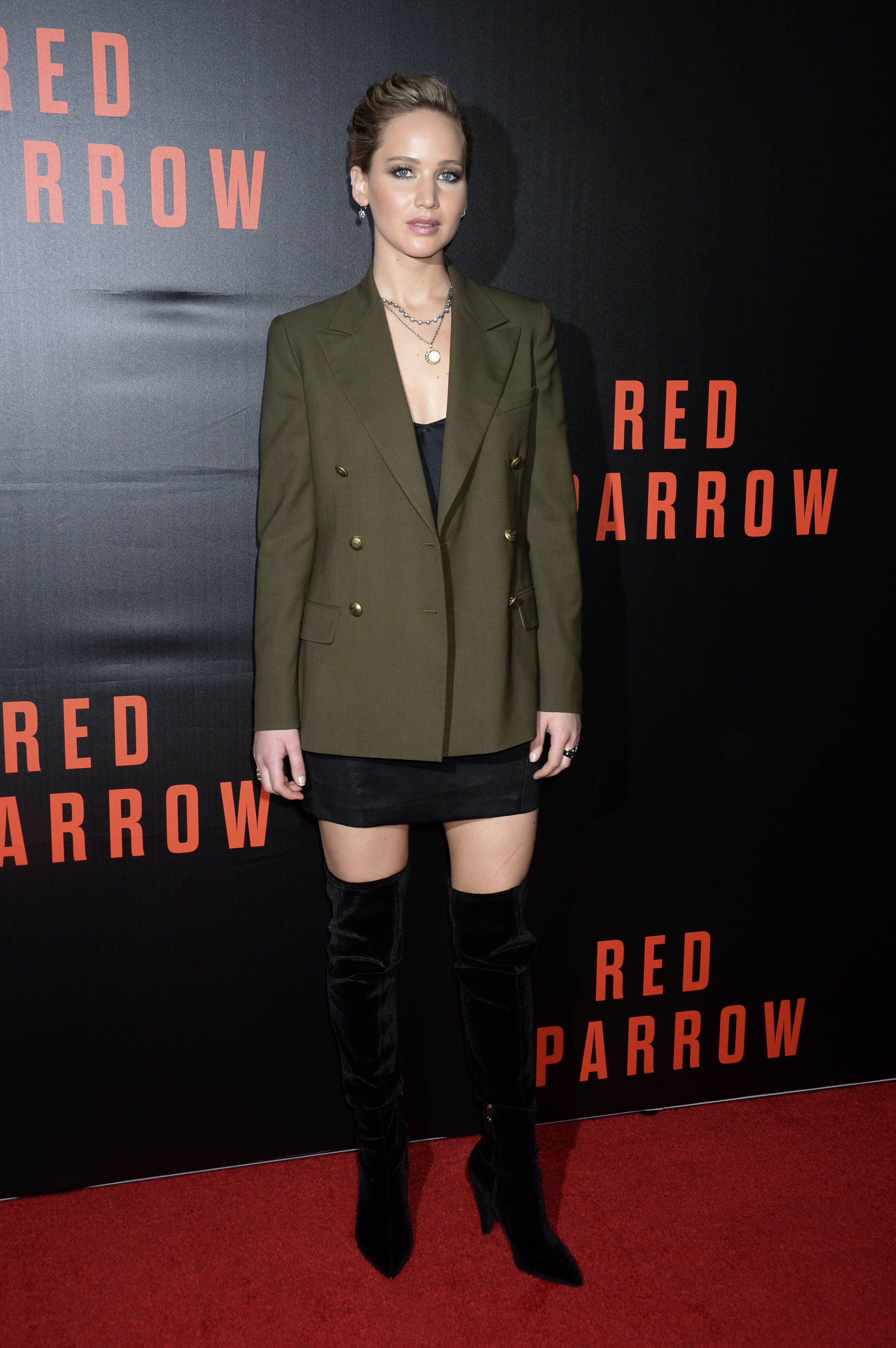 cea2e83b8 JLaw opted for a Polo Ralph Lauren menswear-inspired olive blazer paired  with black velvet