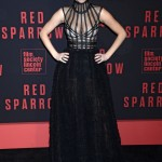 "Lawrence opted for a very dramatic look for the New York premiere of ""Red Sparrow"" wearing a stunning Dior dress with braided skirt and bondage-style bodice. (Photo: WENN)"