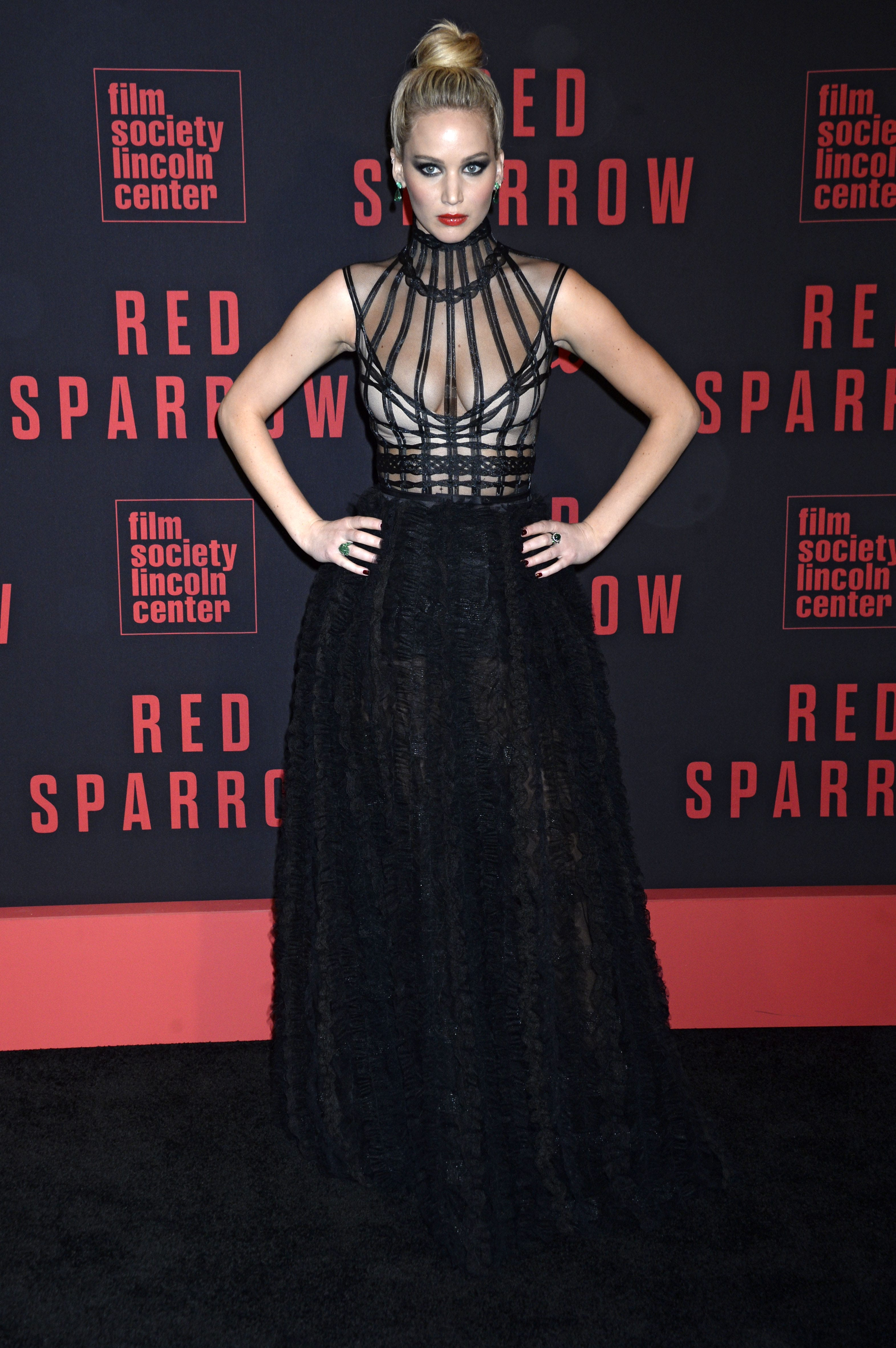 "fec00665f Lawrence opted for a very dramatic look for the New York premiere of ""Red  Sparrow"