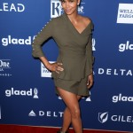 Halle showed off some major leg at the 2018 GLAAD Media Awards in an olive-green cold shoulder Adeam asymmetrical mini dress. (Photo: WENN)