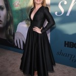 "Amy Adams flashed a daring cleavage in a black Calvin Klein ankle length dress that cinched at her waist during the premiere of HBO's ""Sharp Objects."" (Photo: WENN)"