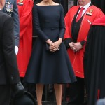 Meg sported a Dior A-line black dress paired with a Stephen Jones statement hat that nailed the whole situation at the celebration of the 100th anniversary of the royal air force. (Photo: WENN)
