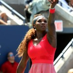 "The Queen of tennis competed at the 2013 U.S. Open looking uber feminine in an ""aerodynamic"" red and pink dress. (Photo: WENN)"