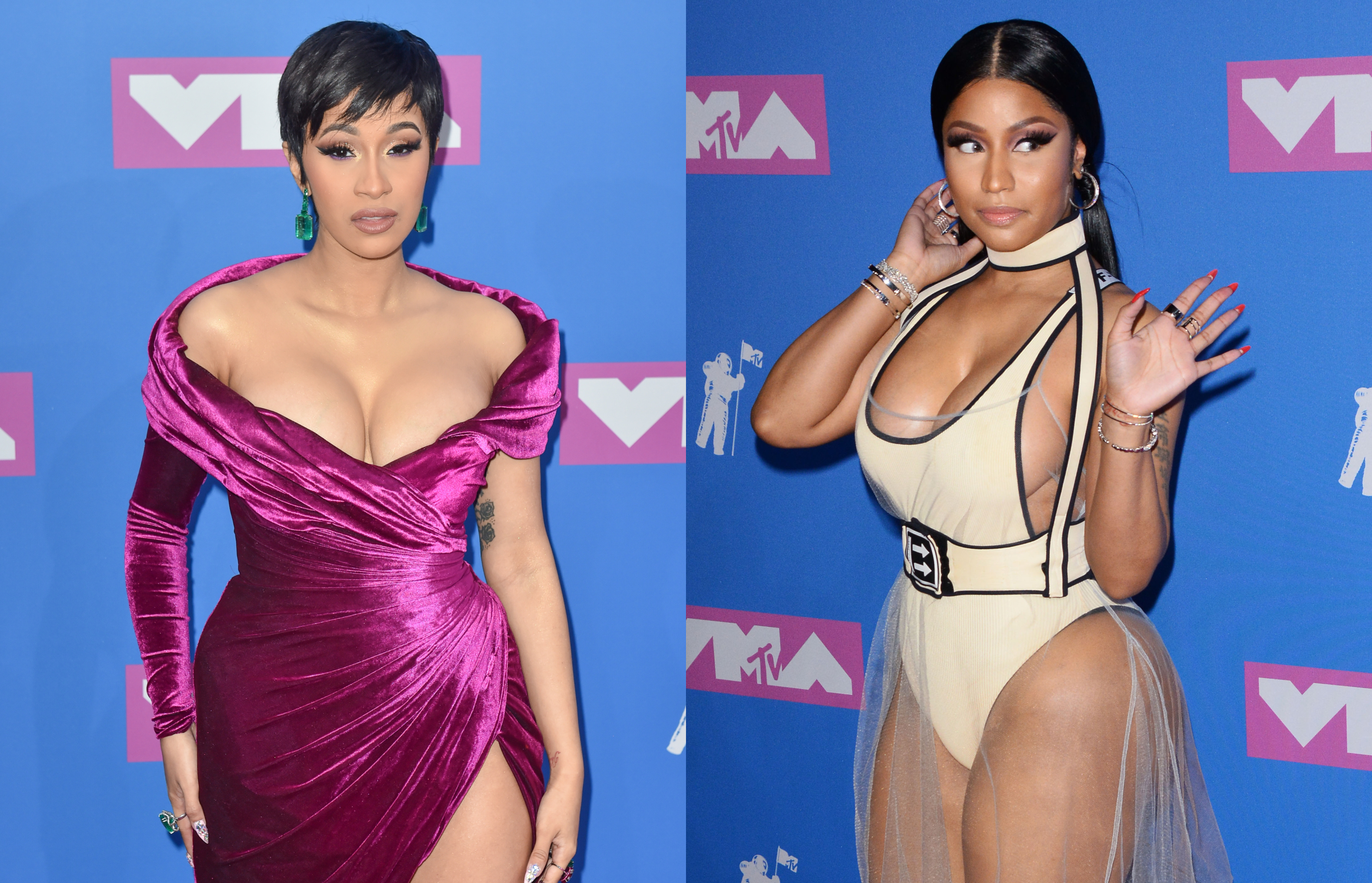 "Harper's Bazaar Icons party got more entertainment than it bargained when Cardi B threw a shoe at Nicki Minaj after she allegedly made a comment about Cardi's newborn, Kulture Kiari. However, it was the ""Invasion of Privacy"" singer who ended up with a huge lump on her face. (Photo: WENN)"