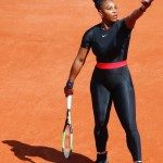 Olympia's mom returned to the court at the 2018 French Open after giving birth to her daughter wearing a striking black catsuit that protected Serena against blood clots. (Photo: Instagram)