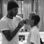 Because it doesn't get any cuter (and sexier) than this picture of daddy David teaching his son Romeo how to shave. (Photo: Instagram)
