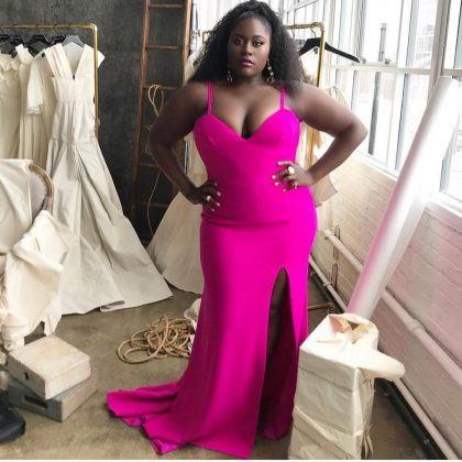 Danielle Brooks embracing her every curve in a bright fuchsia, figure-hugging Christian Siriano number. (Photo: Instagram)
