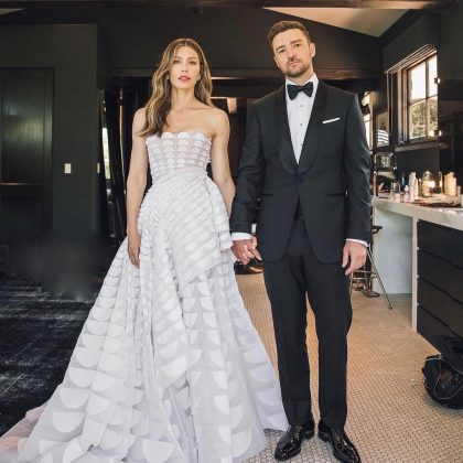 Jessica Biel and Justin Timberlake having second thoughts after learning there wouldn't be alcohol… (Photo: Instagram)
