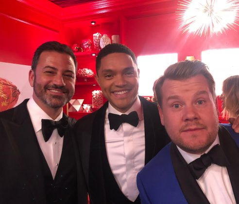 Trevor Noah joined fellow late-night hosts Jimmy Kimmel and James Corden for a playful pic, courtesy of Justin Timberlake! (Photo: Instagram)