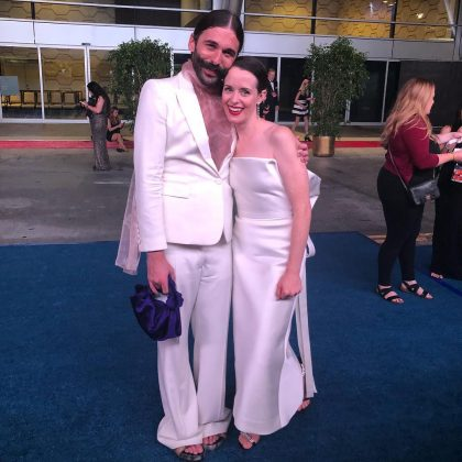 "Fab Five's Jonathan Van Ness meeting his ""favorite"" royal Claire Foy for the first time. (Photo: Instagram)"