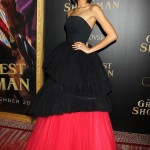 "Zendaya stole the show at the world premiere of her movie ""The Greatest Showman"" waring a black and red gown tulle strapless gown. (Photo: WENN)"