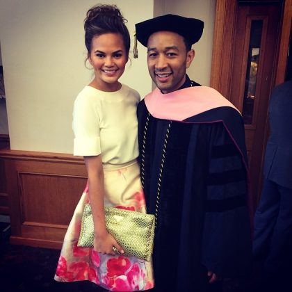 "When she dragged John and his many honorary doctorates. ""I have a bunch too, I just don't brag about it all the time."" (Photo: Instagram)"