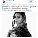 "TV host Steve Harvey called Beyoncé ""the greatest singer in the world"" in a tweet celebrating the singer's birthday. (Photo: Twitter)"