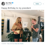"Tony winner Ben Platt posted a picture of himself next to Beyoncé along with the caption: ""Happy Birthday to my president."" (Photo: Twitter)"