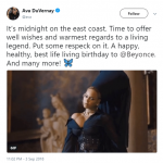 Director Ava Duvernay her best wishes to Bayoncé all the way from the East Coast. (Photo: Twitter)