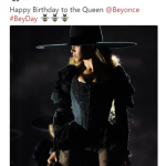 Grammy winning super producer Timbaland wished the singer a happy birthday with a picture of Beyoncé onstage. (Photo: Twitter)
