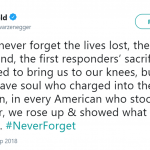 Actor and politician Arnold Schwarzenegger took to Twitter to share a tribute to the heroes of 9/11. (Photo: Twitter)