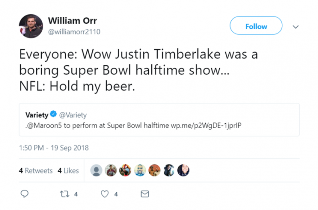Just when we thought the Super Bowl halftime show couldn't be more boring…(Photo: Twitter)