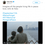 Yoko Ono shared a video alongside the late John Lennon starring at the Twin Towers. (Photo: Twitter)