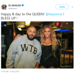 DJ Khaled celebrated Beyoncé's birthday by posting a picture posing next to her at one of her concerts. (Photo: Twitter)