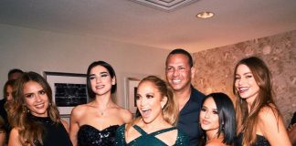 Jennifer Lopez and her star-studded squad composed by Jessica Alba, Dua Lipa, Becky G, Sofia Vergara, and, of course, A-Rod, at JLo's show at Zappos. (Photo: Instagram)