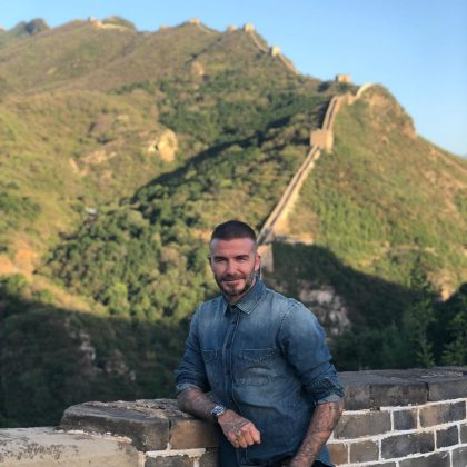 "David Beckham visiting the Great Wall of China for the first time. ""I feel so lucky that my work allows me to travel and to see beautiful places like this…"" (Photo: Instagram)"