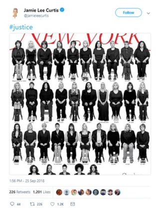 Actress Jamie Lee Curtis celebrated Bill Coby's sentencing by sharing the cover of the New York Magazine featuring all of the disgraced-comedian's victims. (Photo: Twitter)
