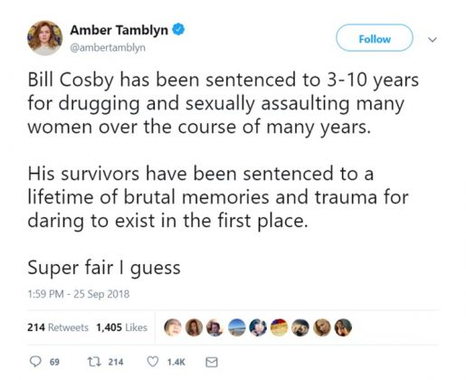 Writer Amber Tamblyn expressed her disappointment with Bill Cosby's sentencing. (Photo: Twitter)