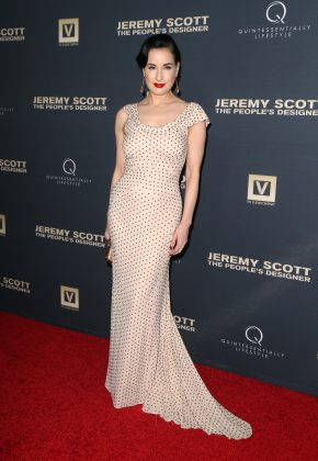 "Dita Von Teese looked graceful as ever in a fitted polka dot dress at the premiere of the documentary ""Jeremy Scott: The People's Designer."" (Photo: WENN)"