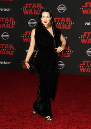 "Dita Von Teese played homage to Princess Leia's iconic hooded dress at the ""Star Wars: The Las Jedi"" premiere in a velvet Jean Paul Gaultier dress. (Photo: WENN)"