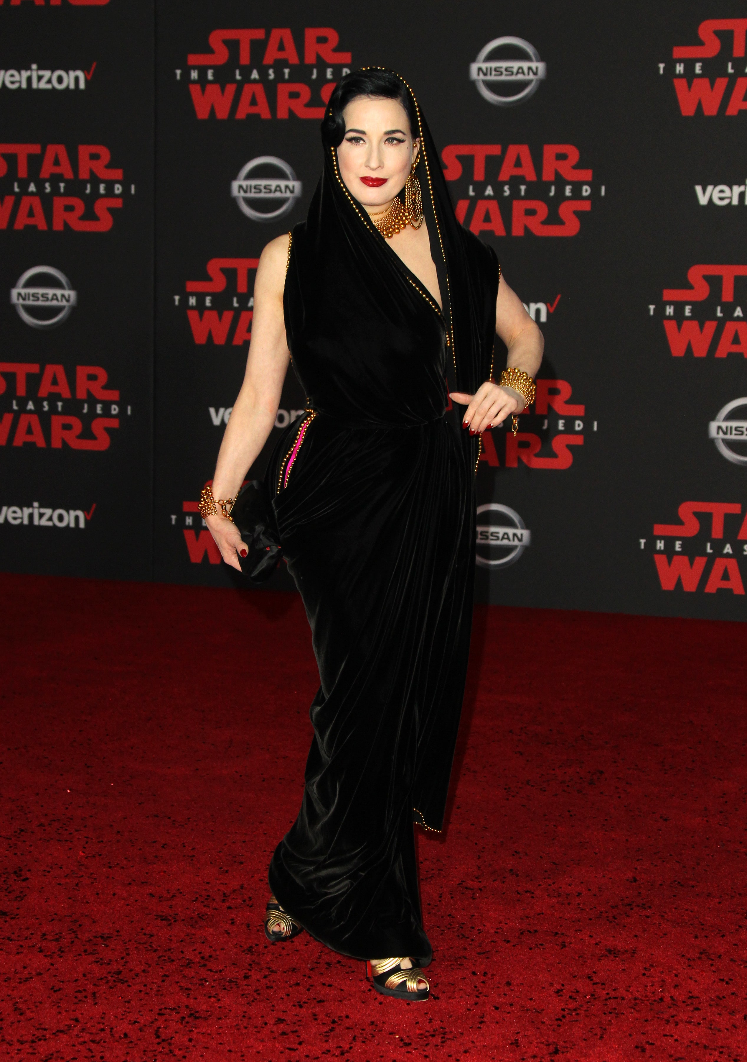 """d475e34a4 Dita Von Teese played homage to Princess Leia s iconic hooded dress at the  """"Star Wars"""