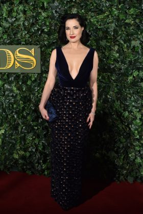 Dita walked down the red carpet of the 2016 London Evening Standard Theatre Awards wearing a royal blue velvet Ralph and Russo embellished dress with plunging neckline. (Photo: WENN)
