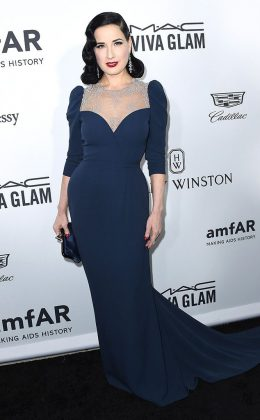 Dita Von Teese turned heads at the 2016 amfAR Inspiration Gala waring a light blue, grayish dress featuring a heart-shaped neckline and lace-covered back. (Photo: WENN)