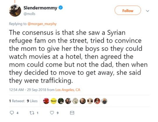 According to the video, Lindsay wanted to put the refugee family up in a hotel room for the night. But things got physical when the parents refused her offer. (Photo: Twitter)