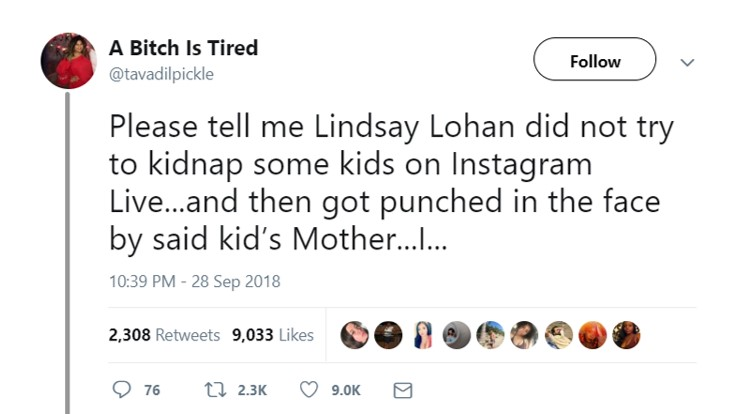 Several users are accusing Lindsay of an attempted kidnap. (Photo: Twitter)