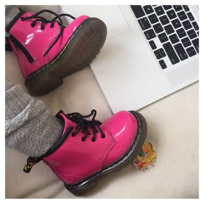 When North wore the cutest pair of pink Timberland boots in honor of Valentine's Day. (Photo: Instagram)