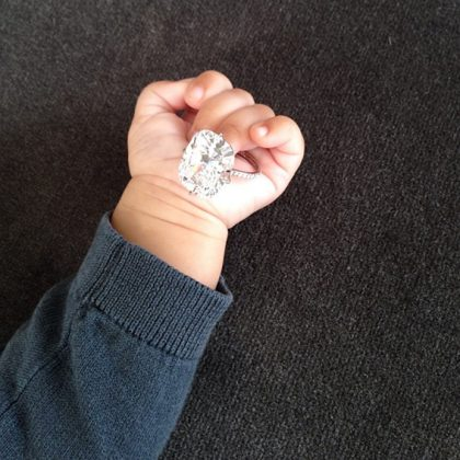 That time North wore her mom's 16.31 carat diamond engagement ring priced in over $2 million dollars. (Photo: Instagram)